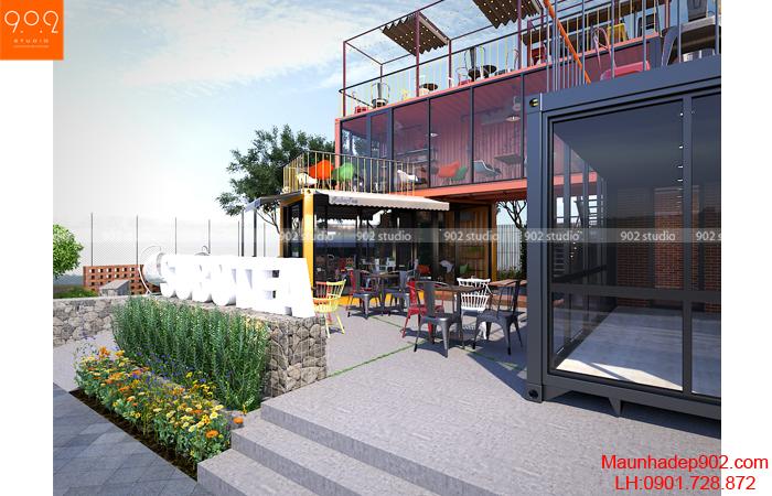 Mẫu nội thất quán cafe nhỏ ngoài trời (nguồn: maunhadep902.com)