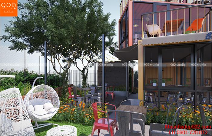 Quán cafe nhỏ ngoài trời kết hợp sân vườn (nguồn: maunhadep902.com)