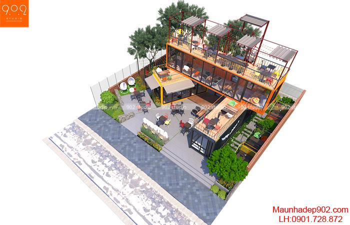 Tổng thể quán cafe nhỏ đẹp (nguồn: maunhadep902.com)