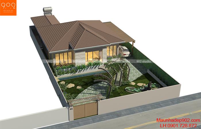 Thiết kế biệt thự 1 tầng có sân vườn 500m2 (nguồn: maunhadep902.com)