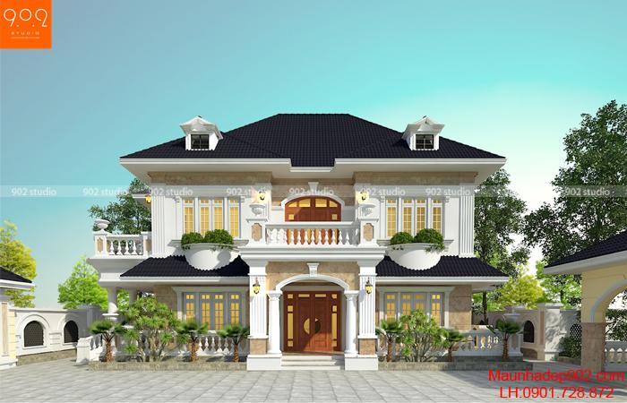 Bản thiết kế biệt thự đẹp tân cổ điển hiện đại 160 m2 đẹp - BT145 (nguồn: maunhadep902.com)