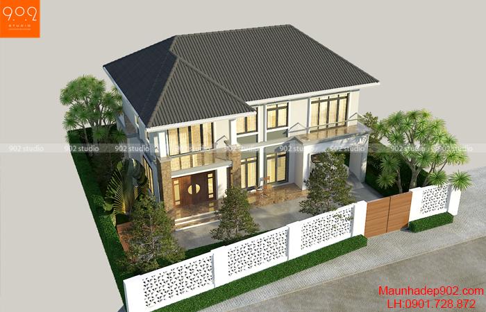 Nhà biệt thự 2 tầng đơn giản phong cách hiện đại - BT147 (nguồn: maunhadep902.com)