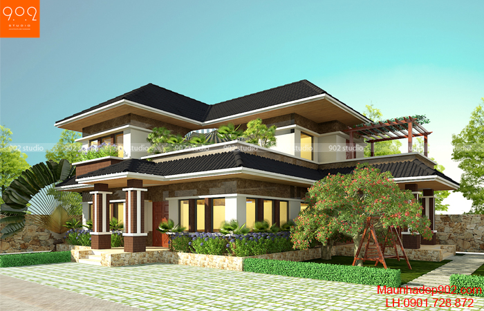 Thiết kế nhà biệt thự 2 tầng mái thái tiết kiệm chi phí - BT106 (nguồn: maunhadep902.com)