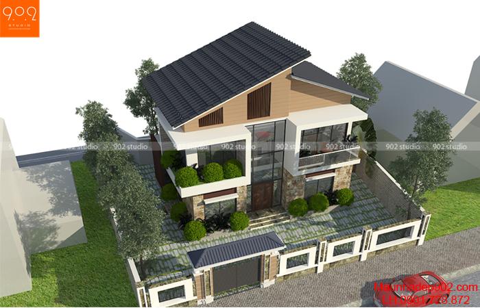 Phối cảnh nhà biệt thự 2 tầng hiện đại mái lệch - BT103 (nguồn: maunhadep902.com)