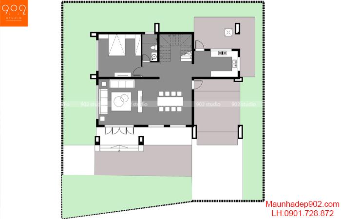 Mặt bằng tầng 1- Mẫu biệt thự 2 tầng hiện đại (nguồn: maunhadep902.com)