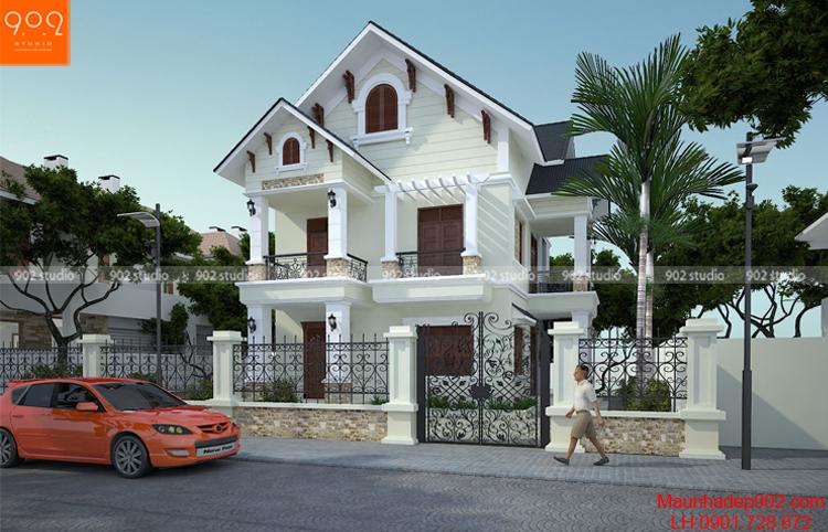 Bản vẽ thiết kế biệt thự 2 tầng mái dốc - BT92 (nguồn: maunhadep902.com)