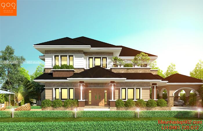 Phối cảnh nhà biệt thự 2 tầng đẹp phong cách hiện đại mái thái - BT146 (nguồn: maunhadep902.com)