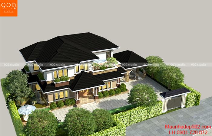 Phối cảnh nhà đẹp 2 tầng mái thái hiện đại - BT146 (nguồn: maunhadep902.com)