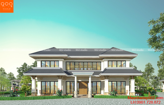 Bản thiết kế mẫu biệt thự sân vườn 2 tầng - BT139 (nguồn: maunhadep902.com)