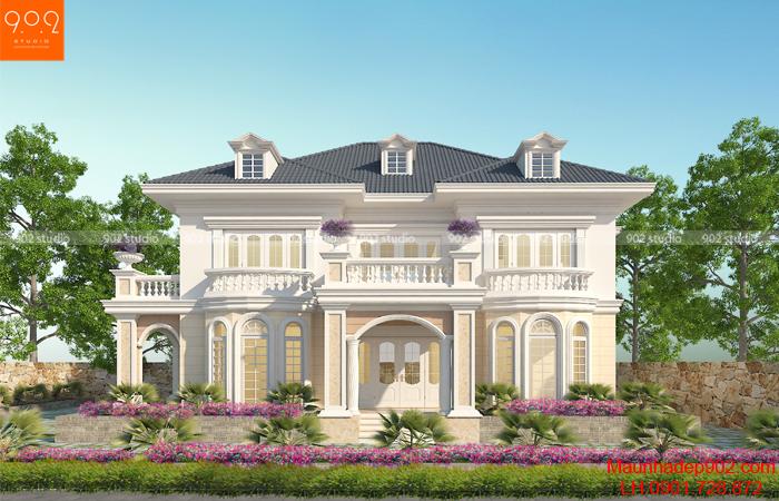 Thiết kế biệt thự tân cổ điển phong cách Châu Âu - BT130 (nguồn: maunhadep902.com)