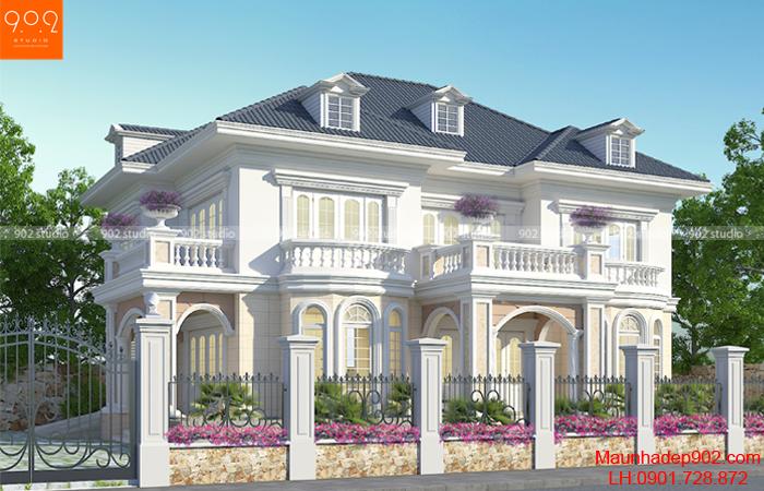 Thiết kế biệt thự 2 tầng tân cổ điển phong cách Châu Âu - BT130 (nguồn: maunhadep902.com)