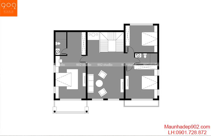 Mặt bằng tầng 2- Mẫu biệt thự 2 tầng hiện đại 4 phòng ngủ (nguồn: maunhadep902.com)