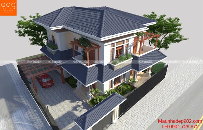 Phối cảnh nhà đẹp 2 tầng hiện đại - BT126 (nguồn: maunhadep902.com)