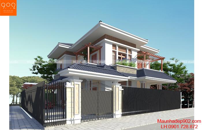 Phối cảnh biệt thự biệt thự 2 tầng hiện đại đẹp - BT126 (nguồn: maunhadep902.com)
