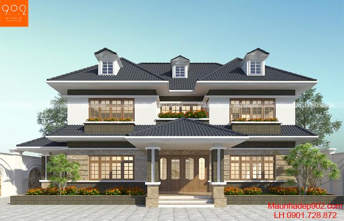 Thiết kế nhà biệt thự 2 tầng 5 phòng ngủ hiện đại - BT133 (nguồn: maunhadep902.com)
