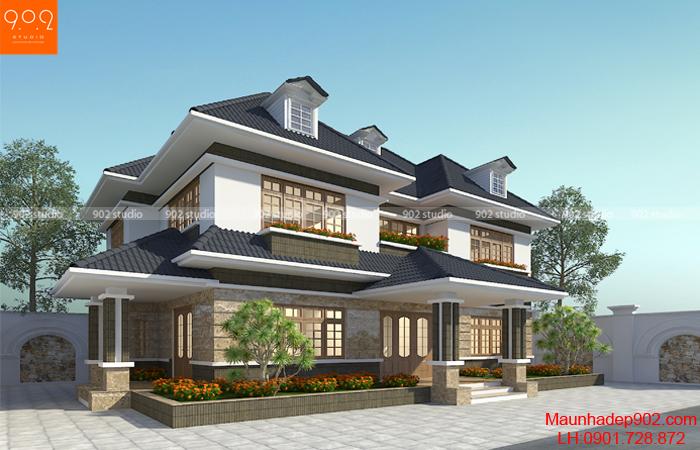 Thiết kế biệt thự 2 tầng 5 phòng ngủ hiện đại - BT133 (nguồn: maunhadep902.com)
