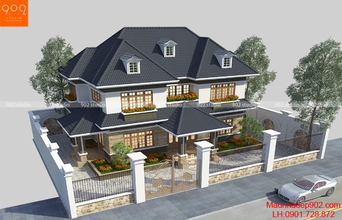 Mẫu nhà đẹp 2 tầng 5 phòng ngủ phong cách hiện đại - BT133 (nguồn: maunhadep902.com)