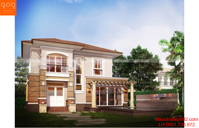 Hình ảnh biệt thự 2 tầng nhỏ xinh 3 phòng ngủ - BT03 (nguồn: maunhadep902.com)