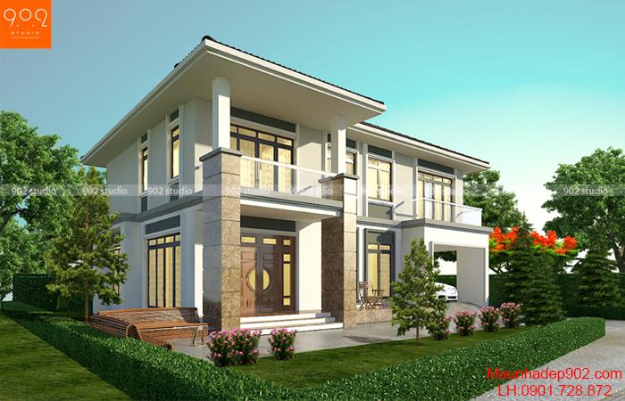 Thiết kế biệt thự 2 tầng 150m2 có sân vườn nhỏ đẹp (nguồn: maunhadep902.com)