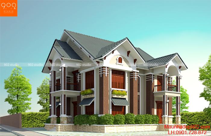 Phối cảnh mẫu nhà 2 tầng 150m2 - BT57 (nguồn: maunhadep902.com)