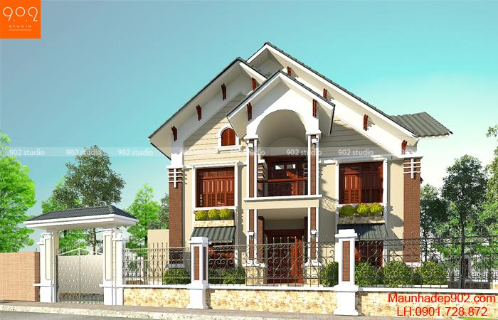 Bản vẽ thiết kế ngôi nhà 2 tầng kiến trúc hiện đại 150m2 - BT57 (nguồn: maunhadep902.com)