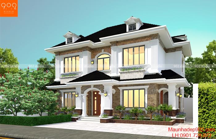 Phối cảnh nhà biệt thự đẹp 2 tầng phong cách tân cổ điển (nguồn: maunhadep902.com)