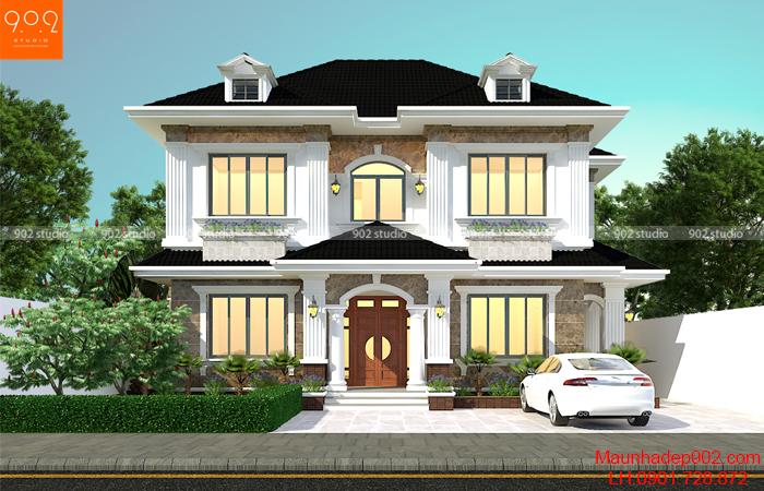 Bản vẽ biệt thự 2 tầng đẹp phong cách tân cổ điển - BT148 (nguồn: maunhadep902.com)