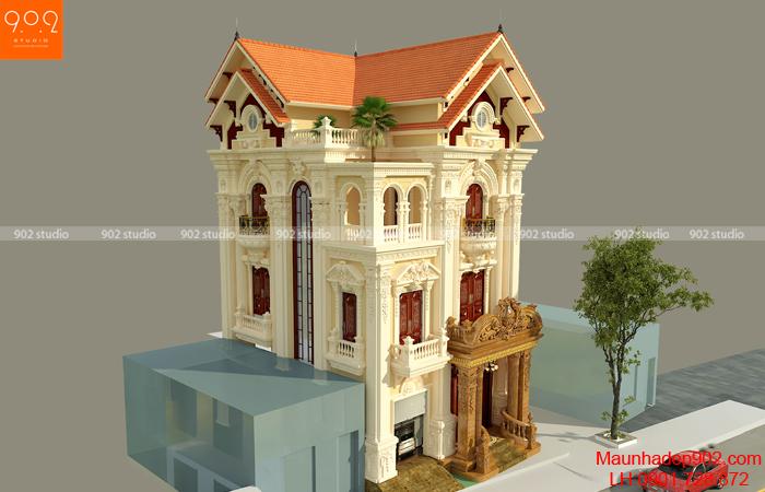 Phối cảnh tổng thể biệt thự đẹp 3 tầng 10x15m (nguồn: maunhadep902.com)