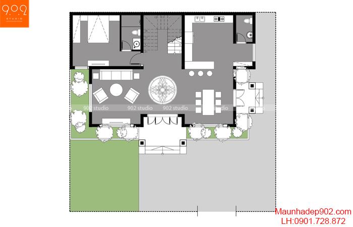 Mặt bằng tầng 1 mẫu biệt thự đẹp 16x15.5m (nguồn: maunhadep902.com)