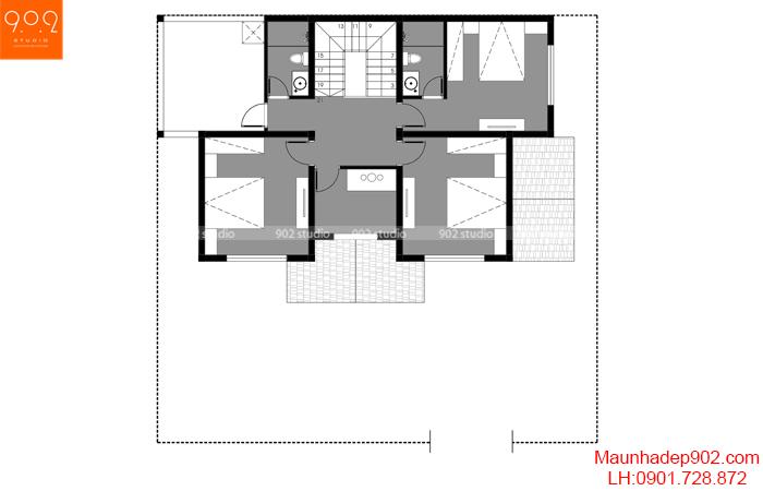Mặt bằng tầng 2 biệt thự tân cổ điển đẹp 4 phòng ngủ (nguồn: maunhadep902.com)