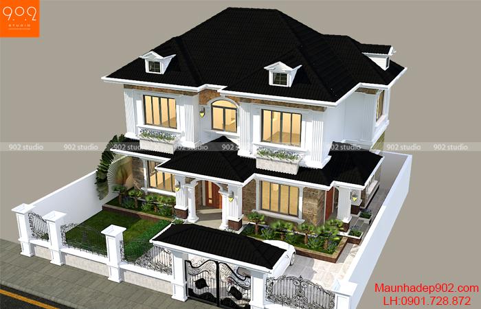 Thiết kế kiến trúc tân cổ điển nhà 2 tầng đẹp (nguồn: maunhadep902.com)