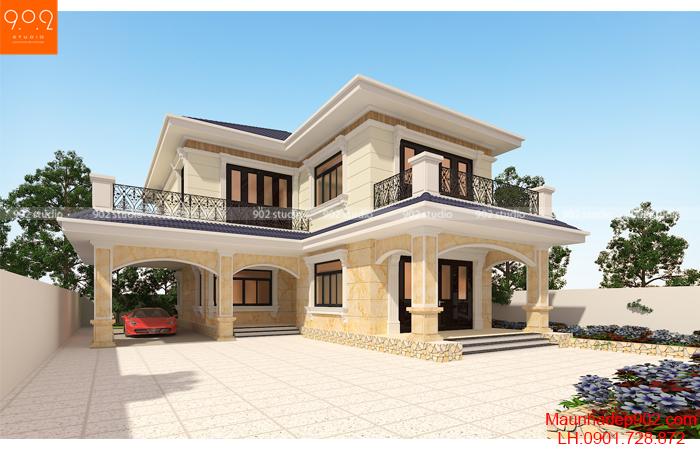 Biệt thự 2 tầng chữ L độc đáo nằm dọc theo chiều dài 2 bên mảnh đất tận dụng góc đất