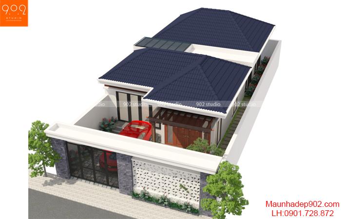 Thiết kế nhà một tầng mái thái - BT150