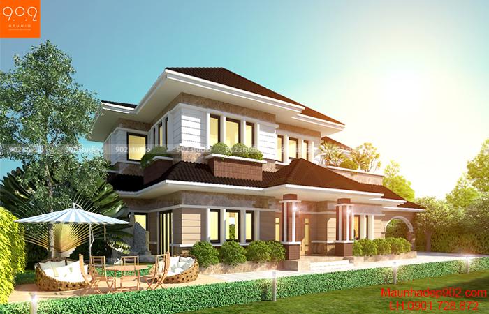 Thiết kế nhà thái 2 tầng đẹp có khuôn viên sân vườn bao quanh