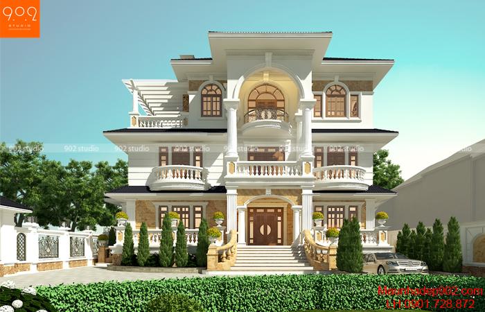 Biệt thự 3 tầng tân cổ điển Pháp 3 mặt tiền đẹp nhất ở Quảng Trị