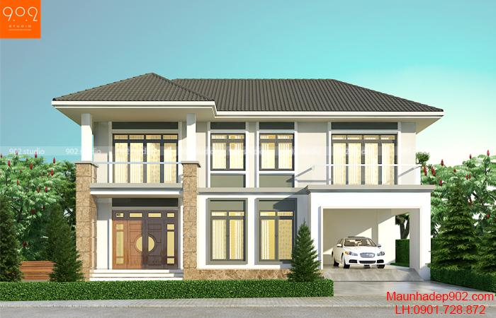 Thiết kế nhà đẹp mái thái đơn giản hiện đại