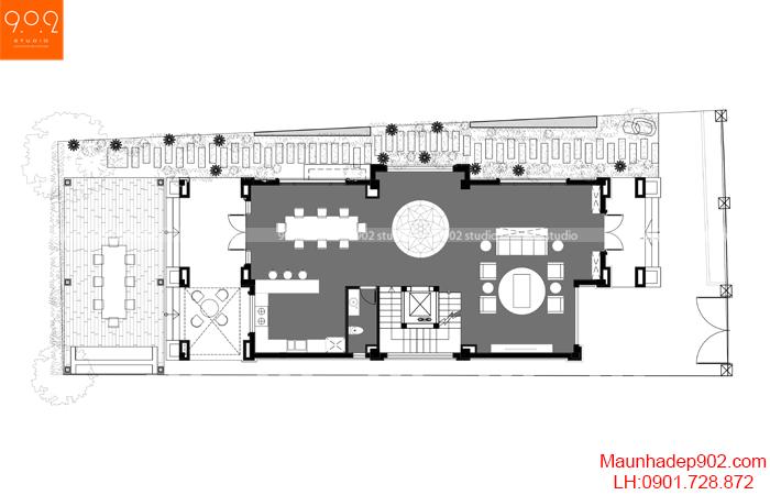 Mặt bằng tầng 1 mẫu thiết kế nhà biệt thự 3 tầng hiện đại
