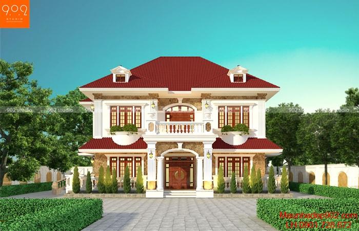 Mẫu nhà 2 tầng mái ngói cách tân mới lạ, phối hợp với gam màu trẻ trung đem đến một thiết kế vô cùng ấn tượng