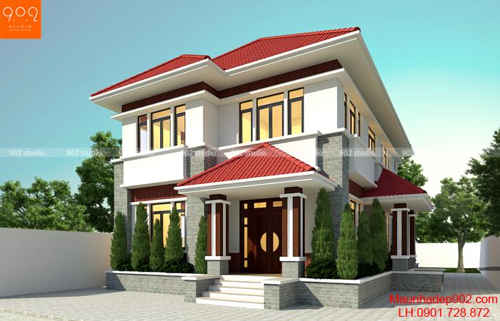 Mẫu nhà 2 tầng mái thái đẹp ngói đỏ truyền thống