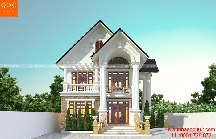 Mẫu nhà 2 tầng mái thái đẹp kiểu dáng sáng tạo với màu sắc tinh tế