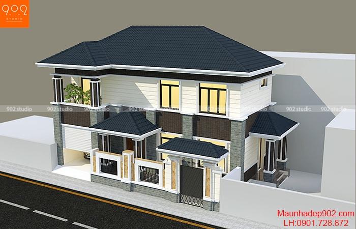 Bản vẽ nhà 2 tầng mái thái đẹp mắt ở nông thôn