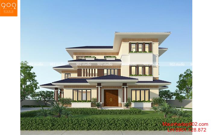 Ngôi nhà sở hữu tổng thể kiến trúc đẹp với kiến trúc hiện đại mái thái