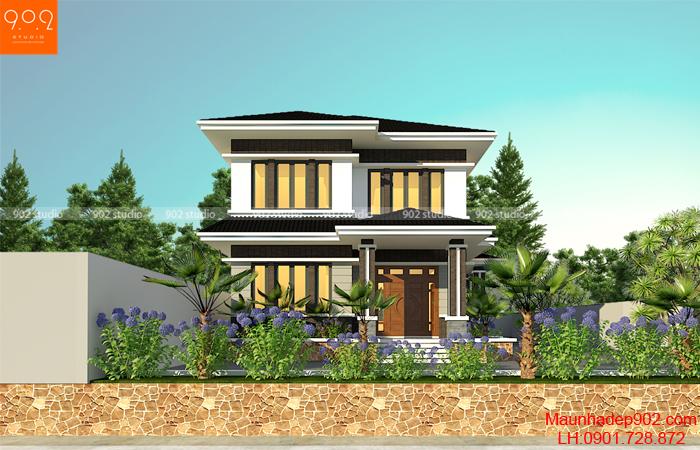 Mẫu nhà 2 tầng mái thái hiện đại đẹp mắt vùng nông thôn dành cho mọi gia đình