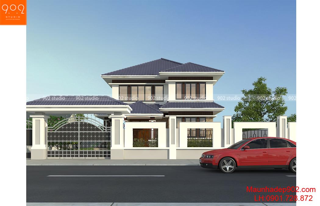 Thiết kế tiền sảnh nhà đẹp vô cùng chắc chắn, cùng phần mái thái đua ra đẹp mắt không bị cụt lủm