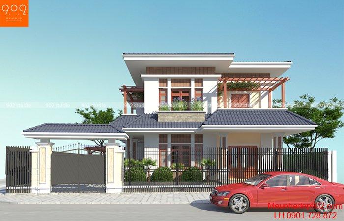 Nhà đẹp 2 tầng thiết kế hình khối vô cùng cân đối, tiết chế những chi tiết không cần thiết
