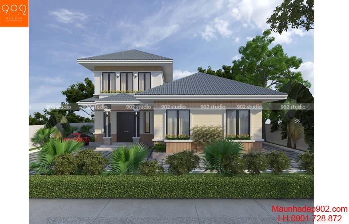 nhà 2 tầng đẹp mái thái