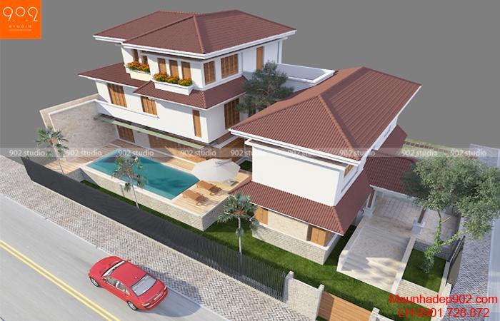 Thiết kế nhà 3 tầng theo phong cách mái thái