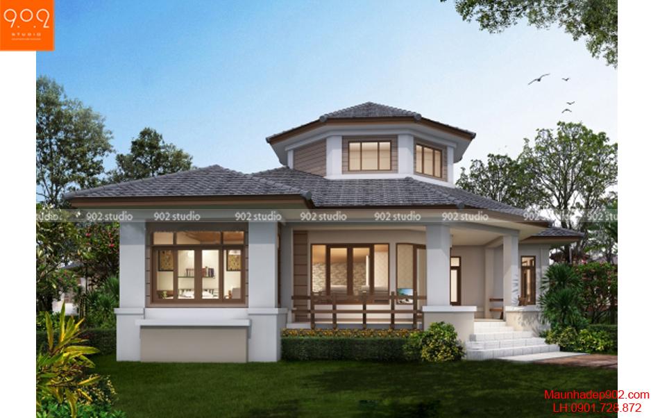 Các mẫu biệt thự 1 tầng được thiết kế theo gam màu tinh tế hợp phong thủy, thiết kế nhà đẹp cũng nhưu hợp tài chính (nguồn: maunhadep902.com)