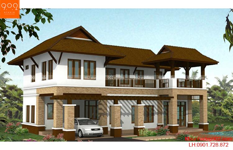 Thiết kế nhà đẹp mái thái với nhiều cột đỡ vững trãi