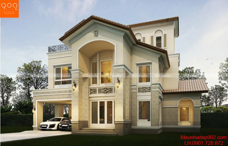Kiểu nhà đẹp 2 tầng nhẹ nhàng tinh tế (nguồn: maunhadep902.com)